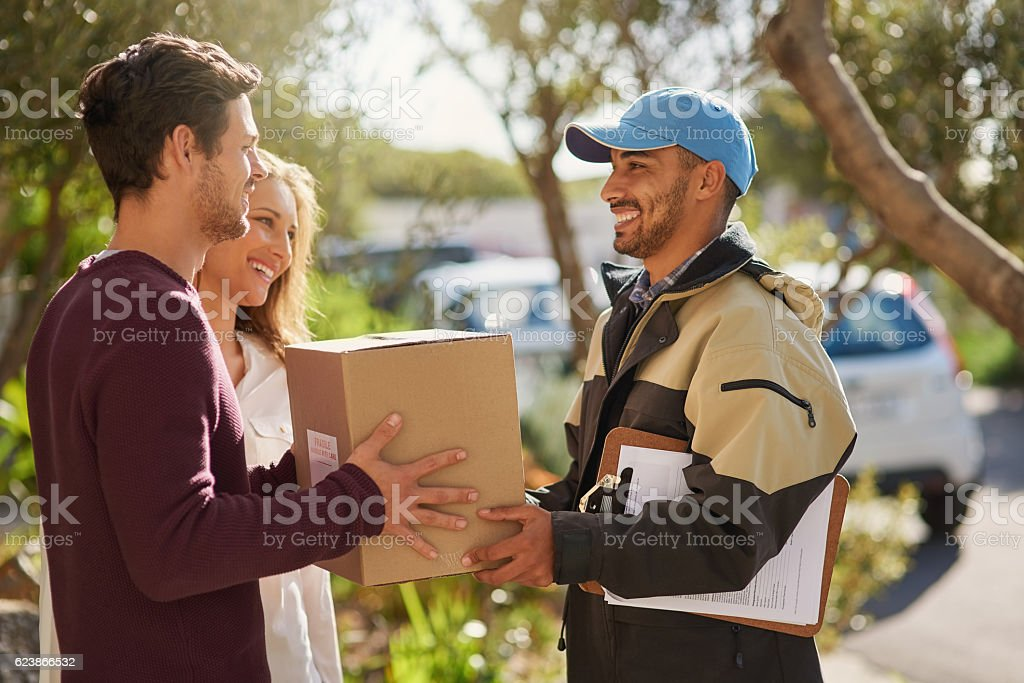 Delivery right to your door! stock photo