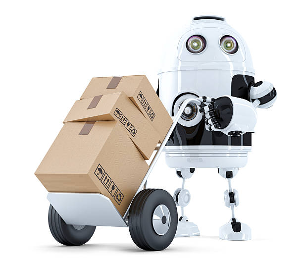 delivery robot. isolated. contains clipping path - delivery robot bildbanksfoton och bilder