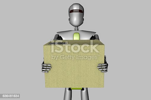 A robot with a delivery package