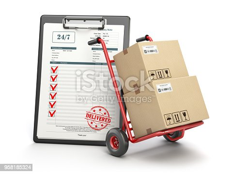 istock Delivery service concept. Hand truck with parcel carton cardboard boxes and  clipboard with receipt form isolated on white. 958185324