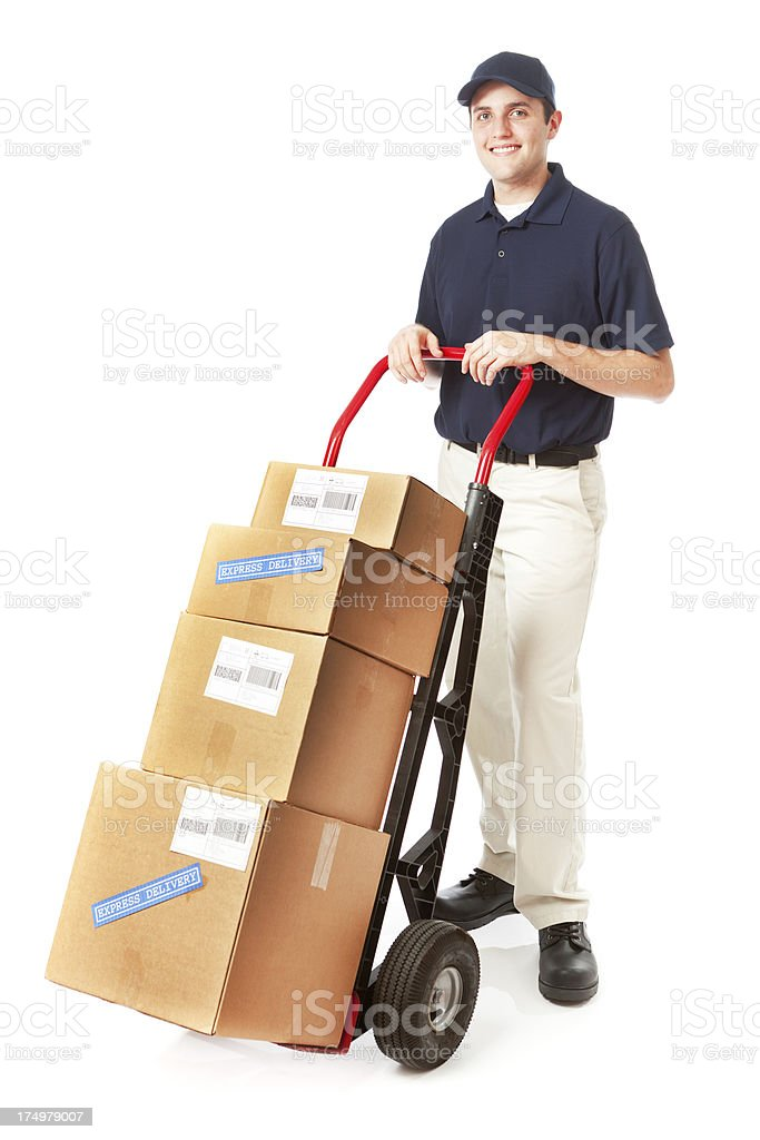 Delivery Service Man Delivering Cart Load of Packages on White royalty-free stock photo
