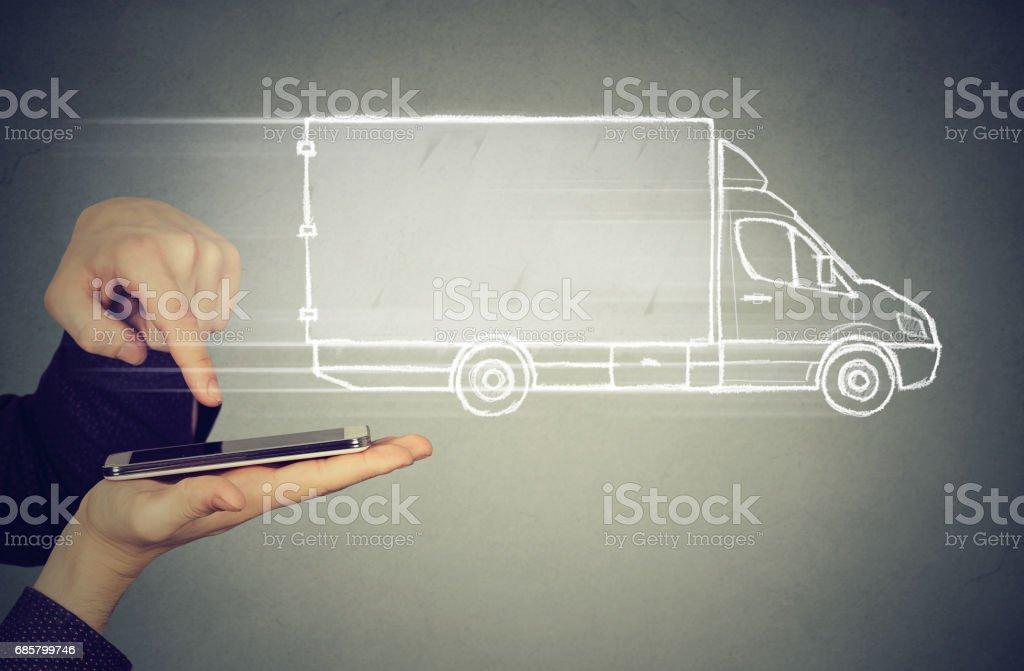 delivery service via modern technology stock photo