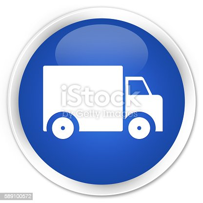 510998733istockphoto Delivery truck icon blue glossy round button 589100572