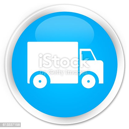 510998733istockphoto Delivery truck icon cyan blue glossy round button 613337158