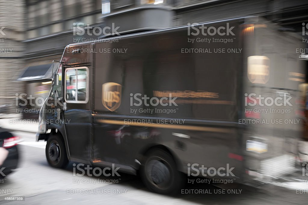 UPS delivery truck in Philadelphia, USA stock photo