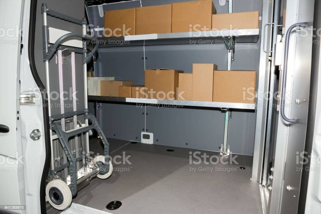 Delivery truck interior stock photo