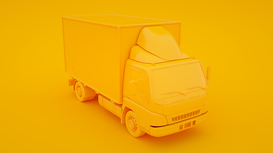 Delivery truck isolated on yellow background. 3d rendering.