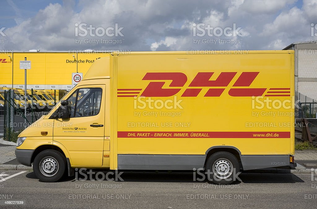 DHL delivery truck stock photo