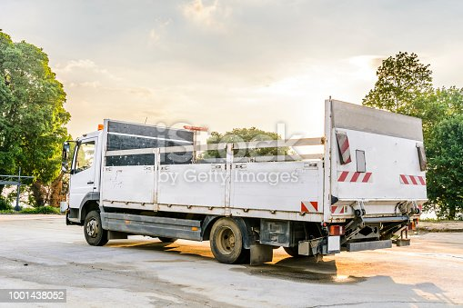 istock delivery truck with blank space for you advertising. 1001438052