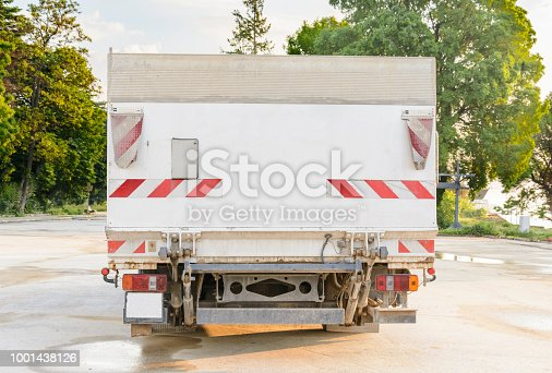 istock delivery truck with blank space for you advertising. 1001438126