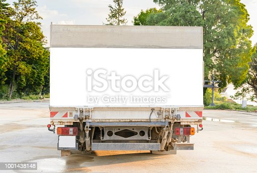 istock delivery truck with blank space for you advertising. 1001438148