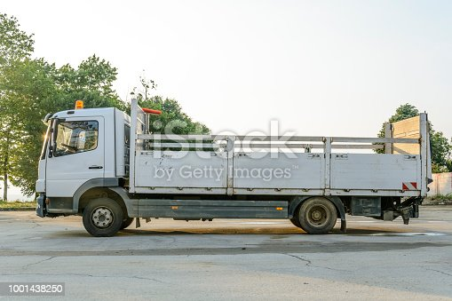 istock delivery truck with blank space for you advertising. 1001438250