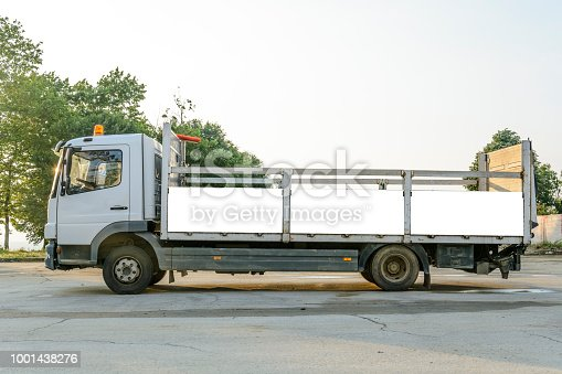 istock delivery truck with blank space for you advertising. 1001438276
