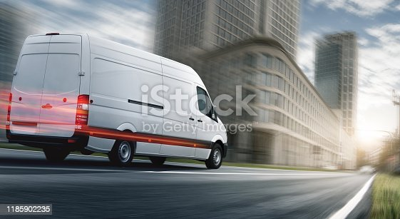 Delivery van delivers in a city