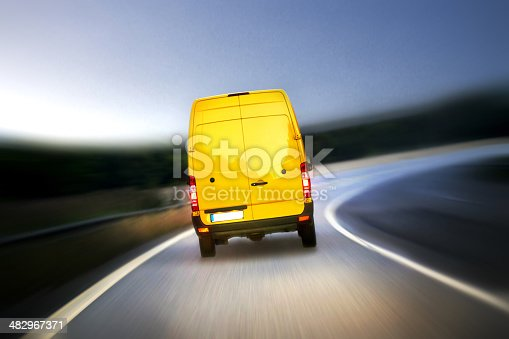 istock Delivery van on highway 482967371