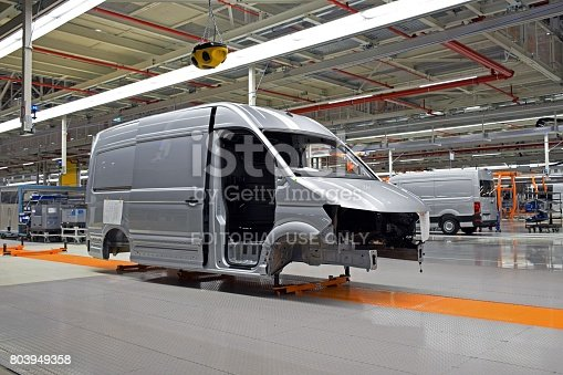 657996382 istock photo Delivery van on the producton line in a car factory 803949358