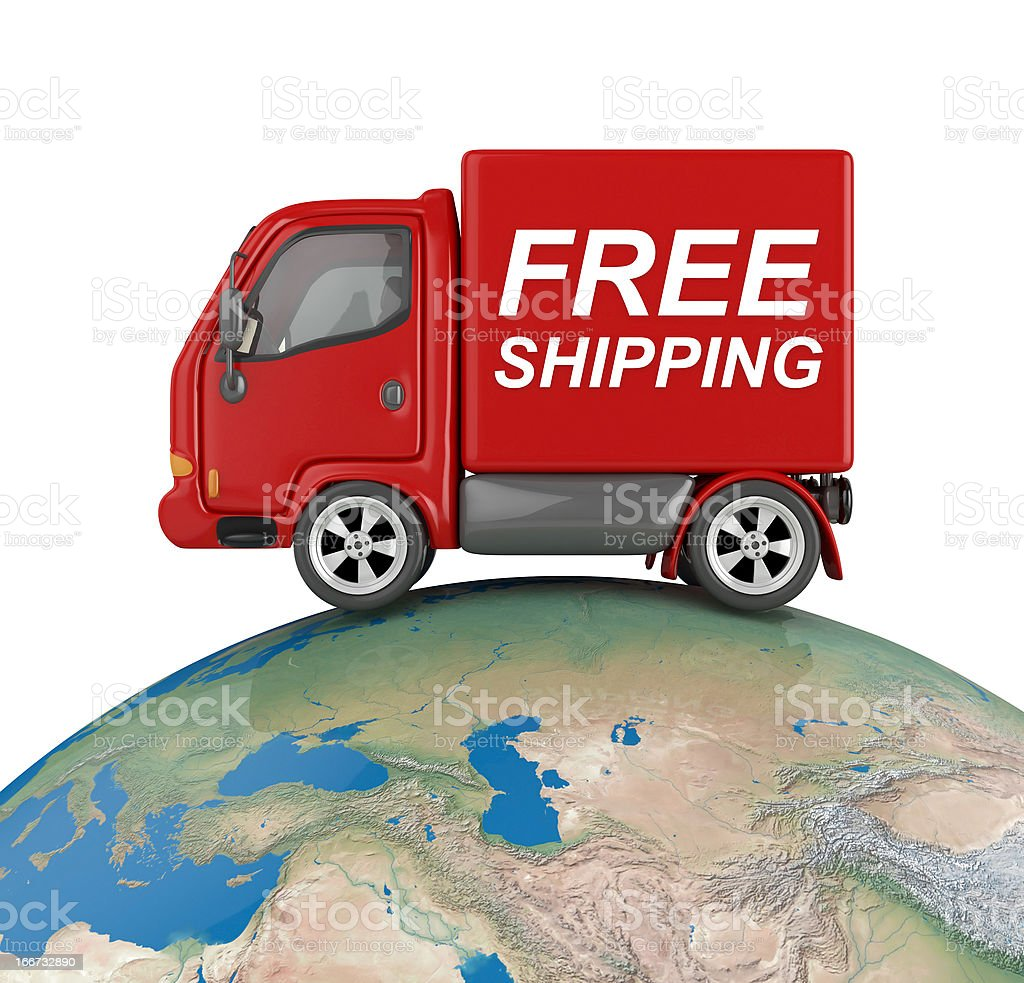 delivery van on world royalty-free stock photo