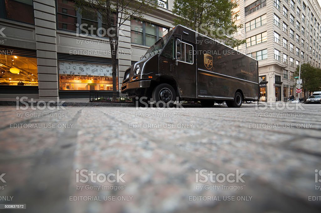 UPS delivery van parked at the street. USA New York stock photo