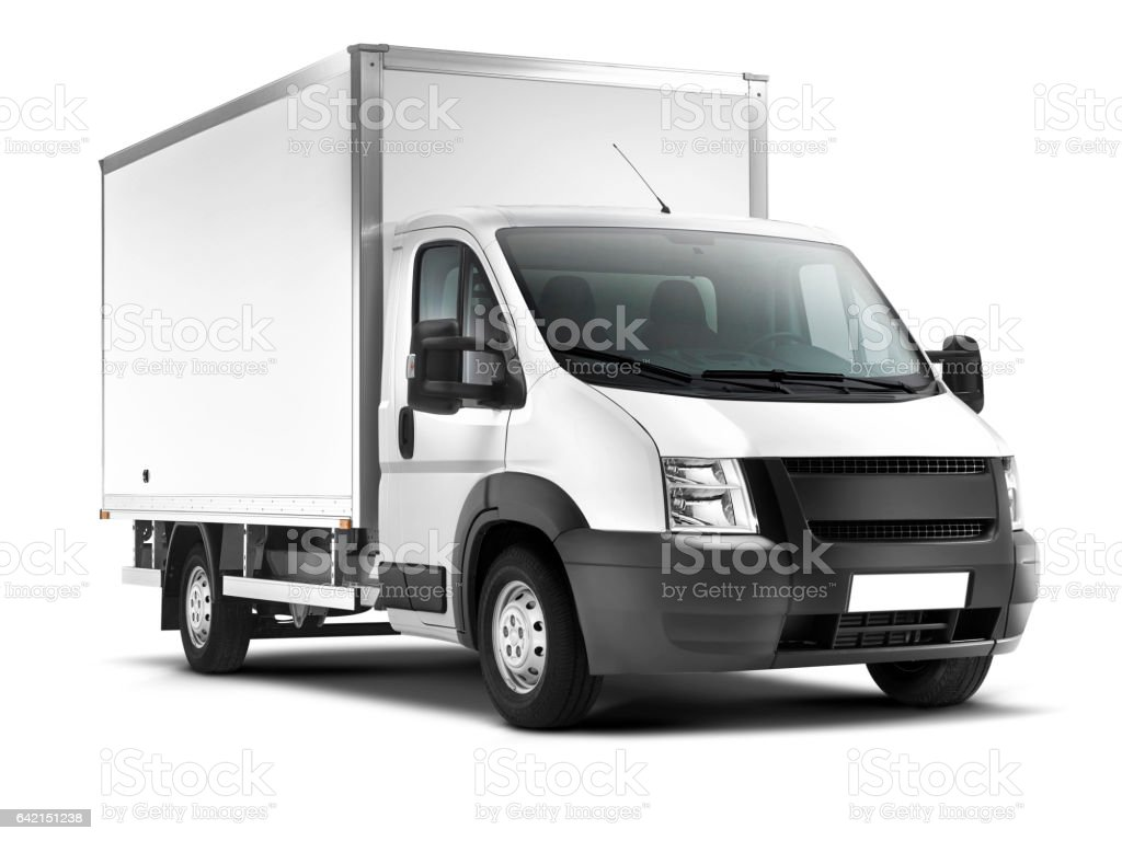 Delivery Van (isolated with clipping path) stock photo