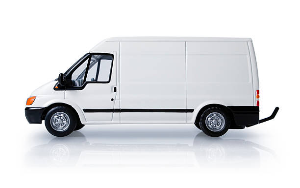 Delivery van - side view stock photo