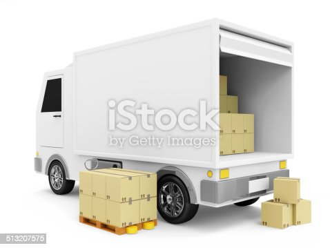 510998733istockphoto Delivery Van with a Boxes on white background 513207575