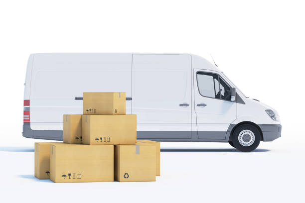 delivery van with a paper boxes on white background stock photo