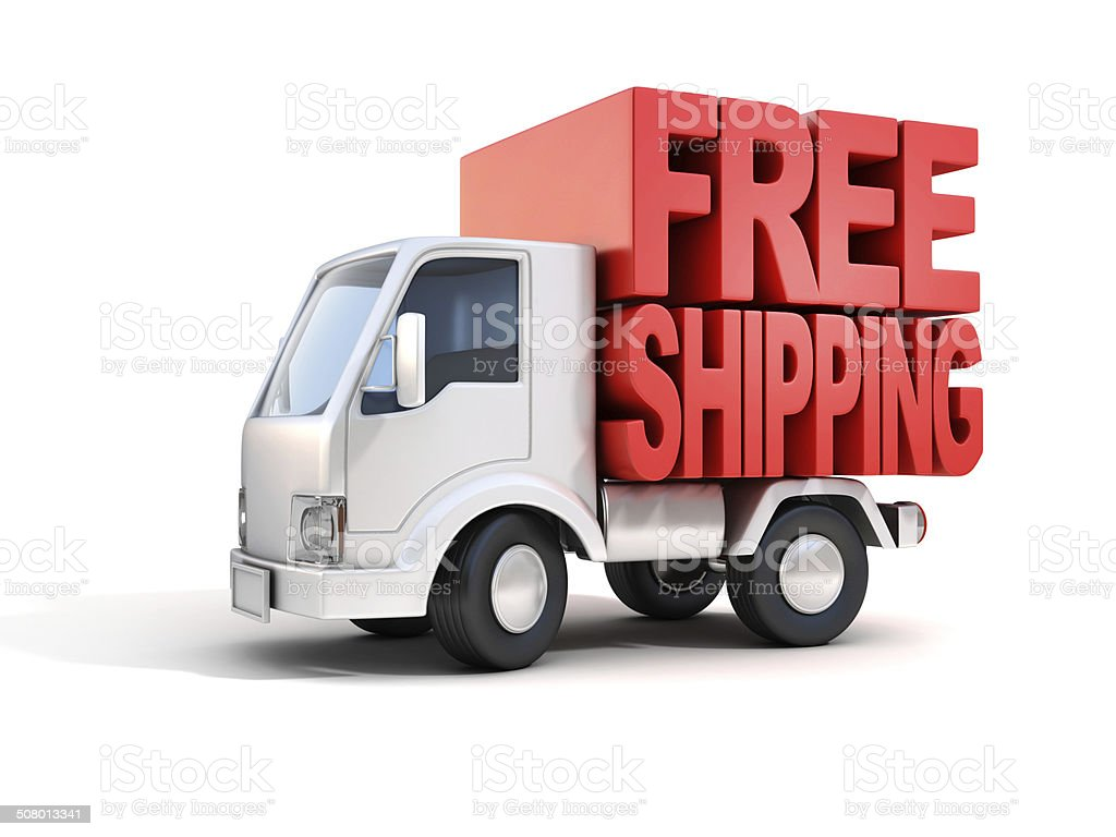 delivery van with free shipping letters on back stock photo