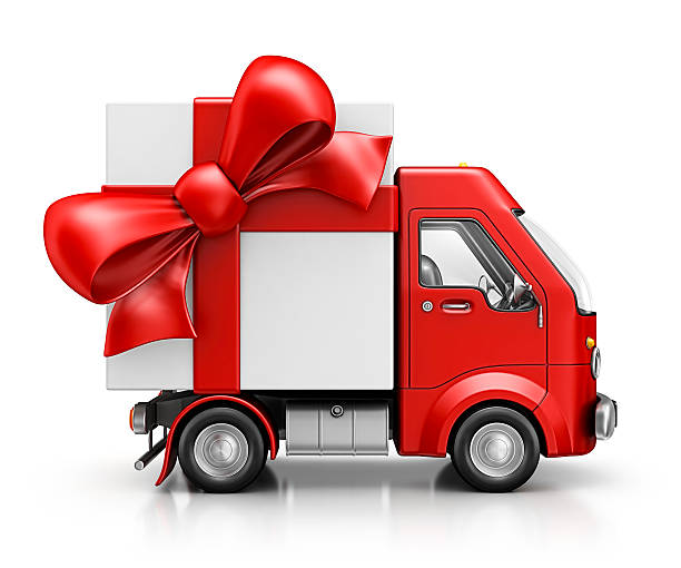 delivery van with gift stock photo