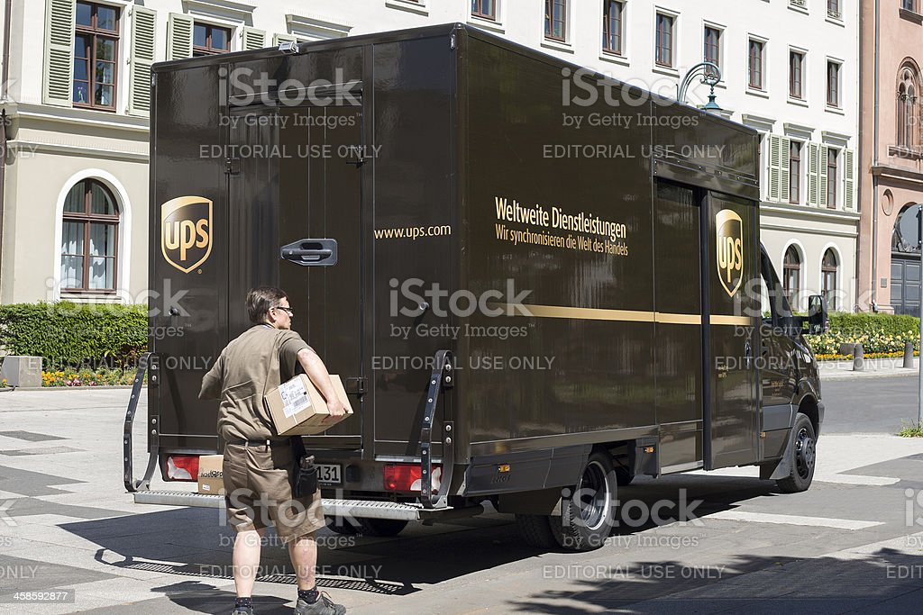 UPS Delivery vehicle stock photo