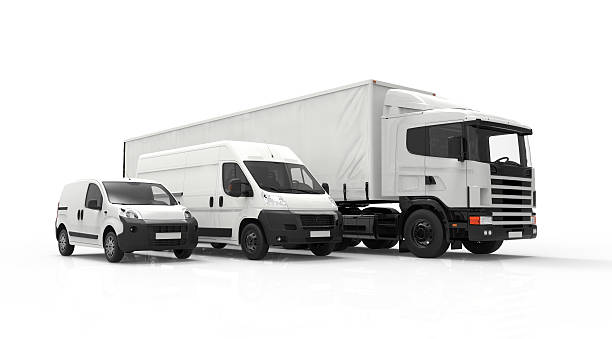 Delivery vehicles 3D rendering of a truck, a van and a lorry isolated on a white background commercial land vehicle stock pictures, royalty-free photos & images