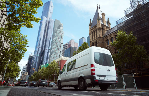 Delivery white van in the city Delivery white van in the city street business Malaysia stock pictures, royalty-free photos & images