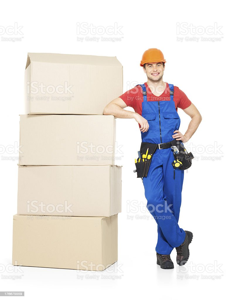 delivery worker man with paper boxes royalty-free stock photo