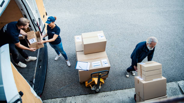 Delivery Workers Loading Delivery Van