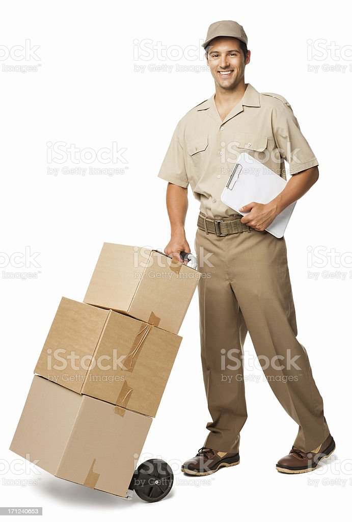 Deliveryman Delivers Boxes - Isolated stock photo