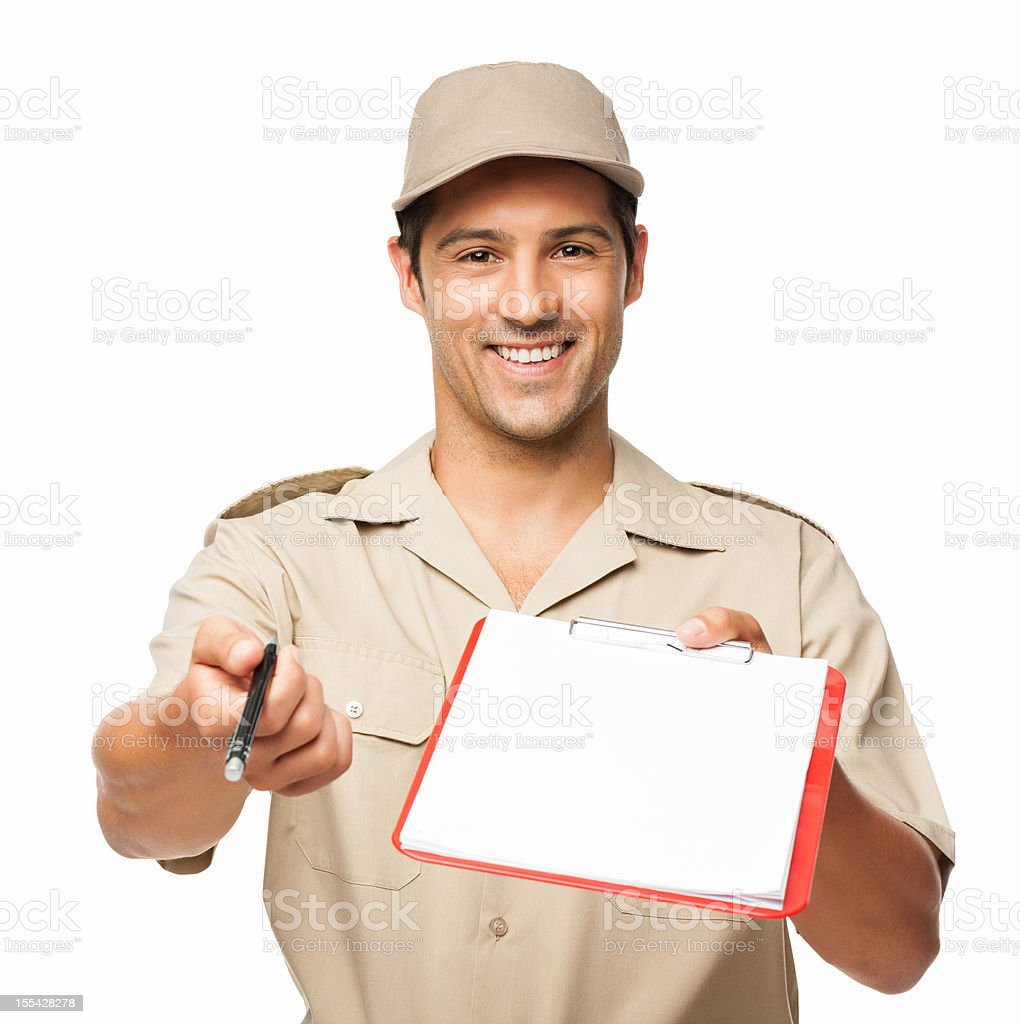 Deliveryman Waiting For Your Signature - Isolated royalty-free stock photo