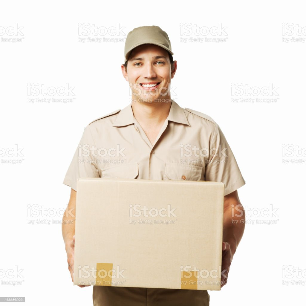 Deliveryman With a Package - Isolated royalty-free stock photo