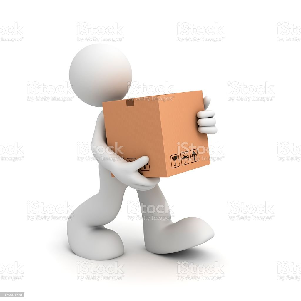 Deliveryman With a Package royalty-free stock photo