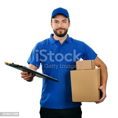 istock deliveryman with boxes and clipboard isolated on white background 629942096