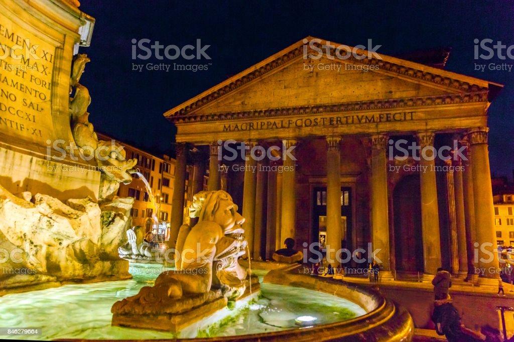 Della Porta Fountain Pantheon Piazza Rotunda Night Rome Italy stock photo