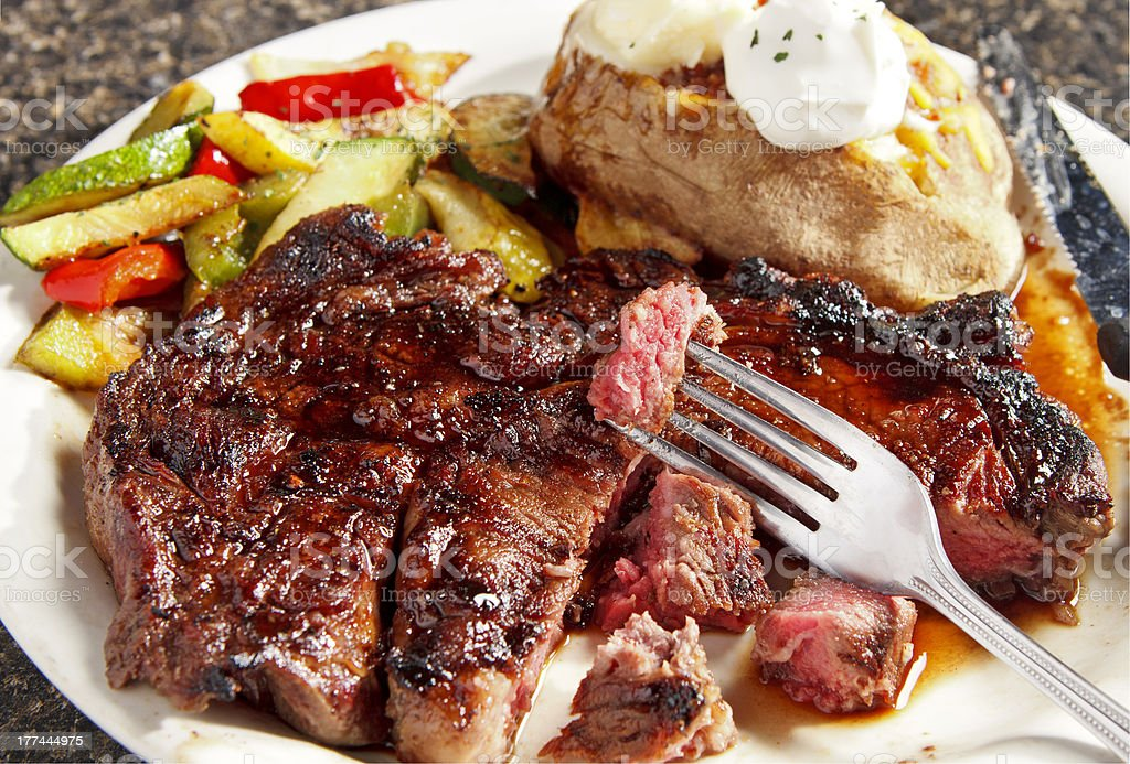 Delmonico Steak and Vegetables royalty-free stock photo