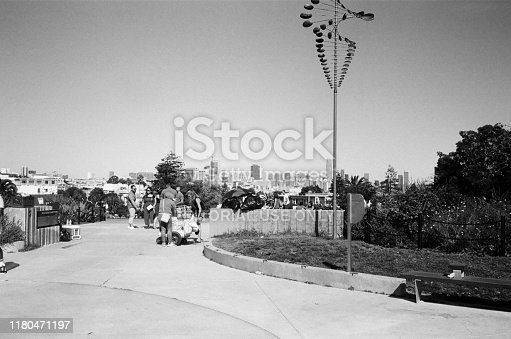 San Francisco, California, United States - October 06, 2019:  Black and white photo on true analog film of Delores Park in the Mission District neighborhood of San Francisco, California, October 6, 2019