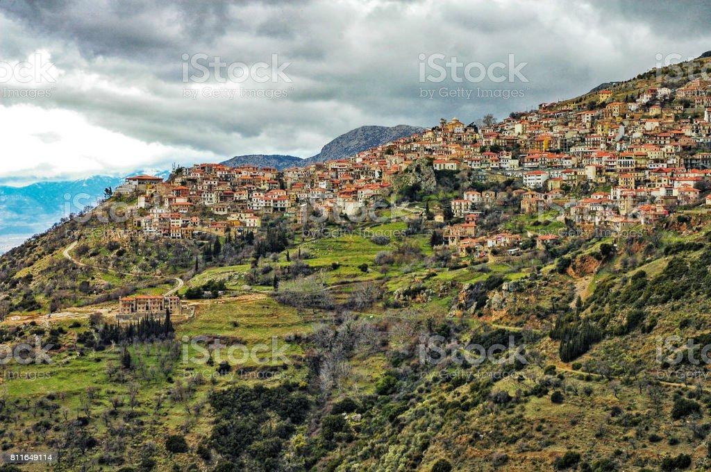Delphi Greece Homes on a Hillside stock photo