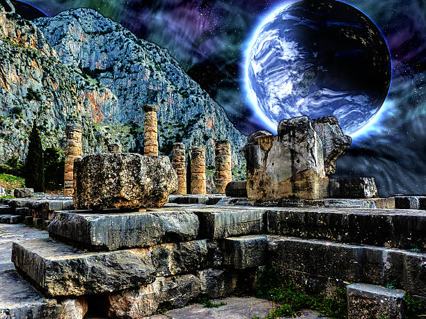 Delphi Illustration with a Blue planet in space stock photo