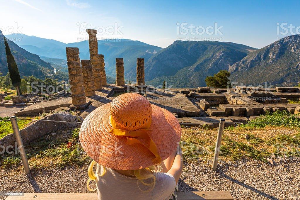 Delphi Temple of Apollo stock photo