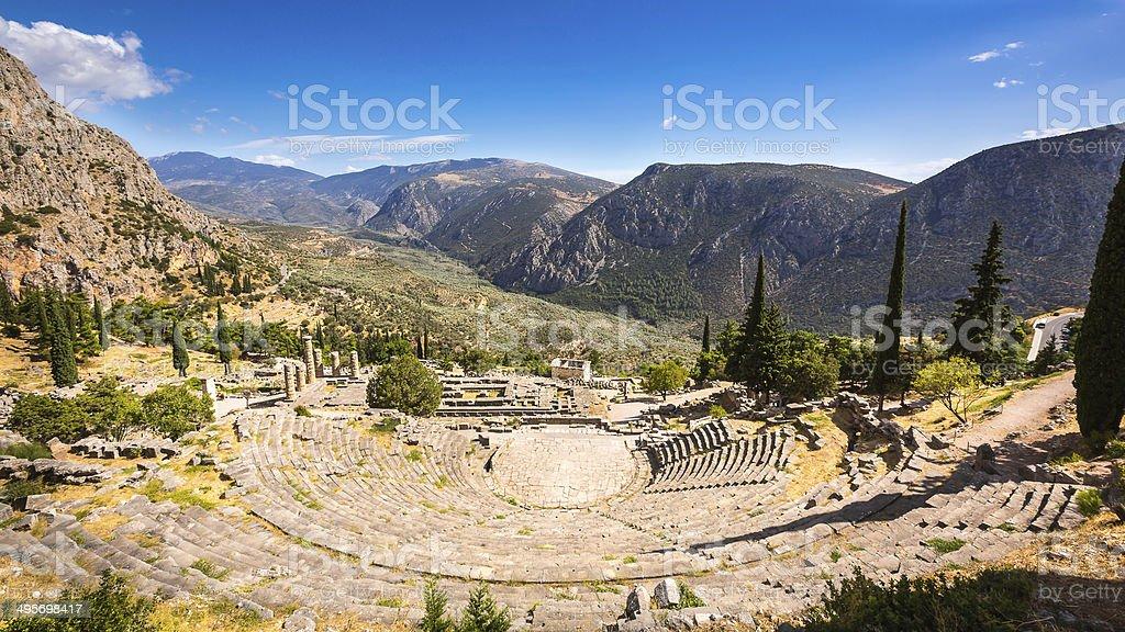 Delphi Theater, Apollon temple, greece stock photo