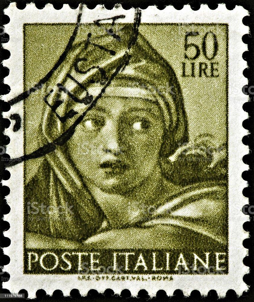 Delphic Sibyl, Michelangelo Sistine Chapel Postage Stamp royalty-free stock photo