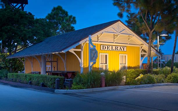 Delray Beach Restored Rail Station Lit as Night Falls stock photo