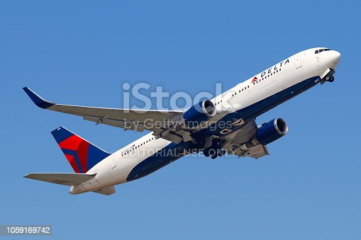 A Delta Airlines Boeing 767 takes off from Shanghai Pudong airport.