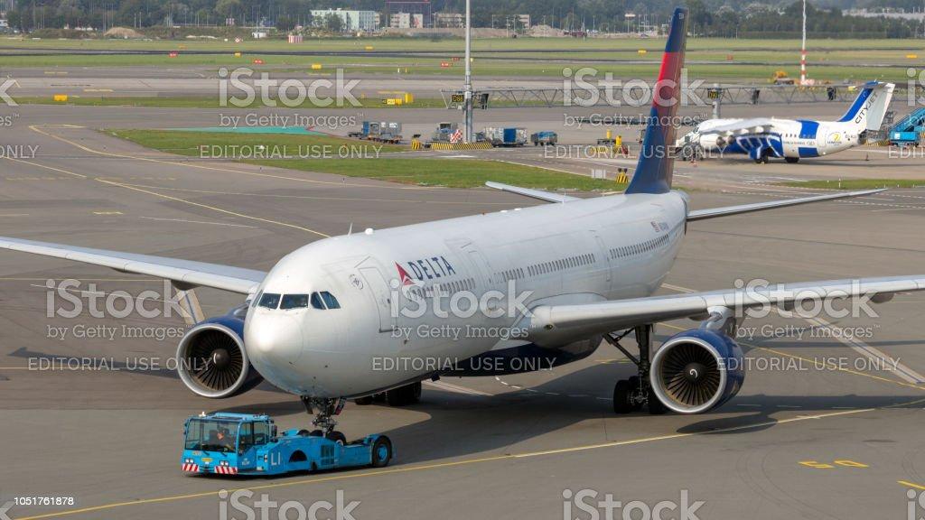 Delta Air Lines airplane aeroport stock photo