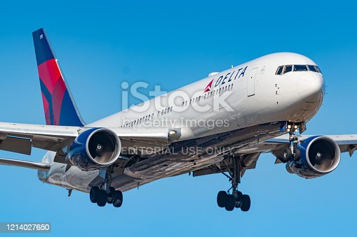 Frankfurt, Germany - July 8, 2018: Delta Air Lines Boeing 767 airplane at Frankfurt airport (FRA) in the Germany. Boeing is an aircraft manufacturer based in Seattle, Washington.